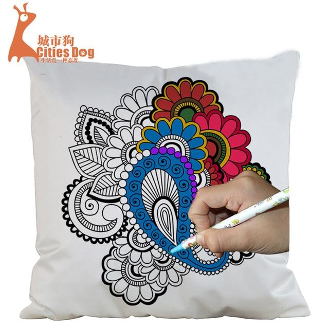 45*45cm imitation silk pillowcase hand painted mysterious garden ...