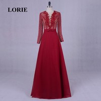 LORIE Arabic Long Evening Dresses 2017 Long Sleeve Red Prom Dress Plus Size Mother of the Bride Gown Chiffon vestidos vermelho