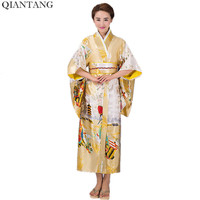 Hot Sale Fashion Women Kimono Yukata Haori With Obi Gold Japanese Style Evening Party Dress Asian Clothing Flower One Size HW041