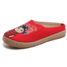 2019 summer womens slippers fashion embroidered cloth shoes woven hemp breathable sandals female