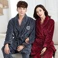 Parejas albornoz de Coral Polar establece gruesa franela albornoz otoño invierno engrosamiento de felpa de algodón mujeres pajams hombres kimono chino