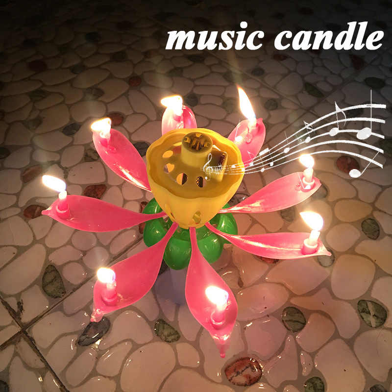 Brief Romantic Musical Candle Lotus Flower Party Gift Art Happy Birthday Candle Lights Party DIY Cake Decoration for Kids