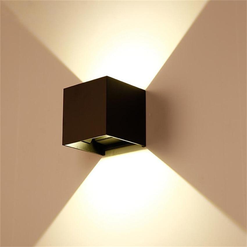 6-12 W mur LED appliques murales IP67 monté en Surface maison Cube lampe étanche haut et bas