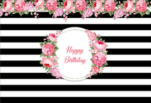 Laeacco Black White Stripes Flowers Birthday Baby Photography Backgrounds Customized Photographic Backdrops For Photo Studio