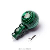 Ücretsiz Kargo 17mm Pürüzsüz Doğal Yeşil Malakit Yuvarlak Şekil Tibet Guru DIY Yaratıcı Mücevher Yapımı Gevşek Boncuk 1 Takım w3293