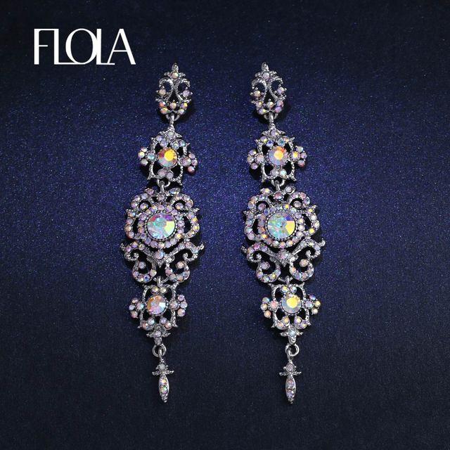 FLOLA Новый 6 цветов Длинные хрустальные Висячие серьги для женщин серебро большие длинные серьги с камни вечерние модные украшения ersk02