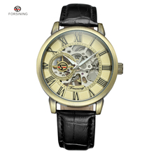 FORSINING Vintage Bronze Men Wristwatch Skeleton Clock Leather Strap Antique Steampunk Automatic Skeleton Mechanical Watches