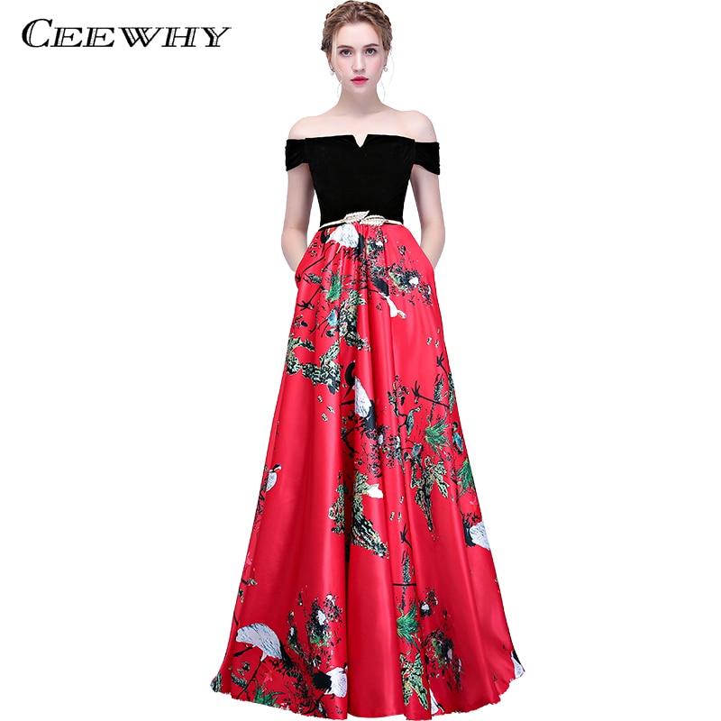 Ceewhy Boat Neck Floral Printed Prom Dress Vintage Evening -3991