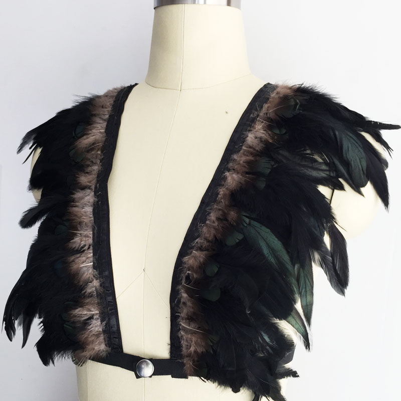 915a26c06bcc96 Boho black feather bralette with goth body harness