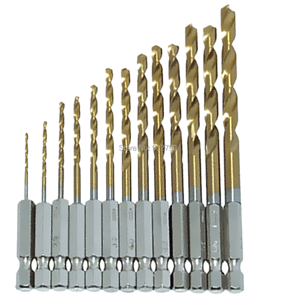 Professional 13pc Quick Change Drill Bit Set Titanium Coated HSS Hex Shank Load