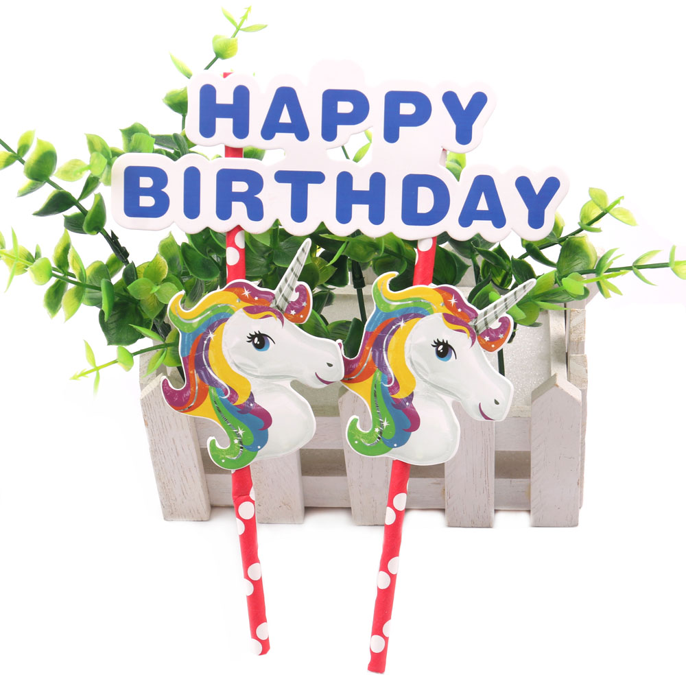 3 unids unicornio Cupcake Cake Topper feliz cumpleaños Cake Flags - Para fiestas y celebraciones