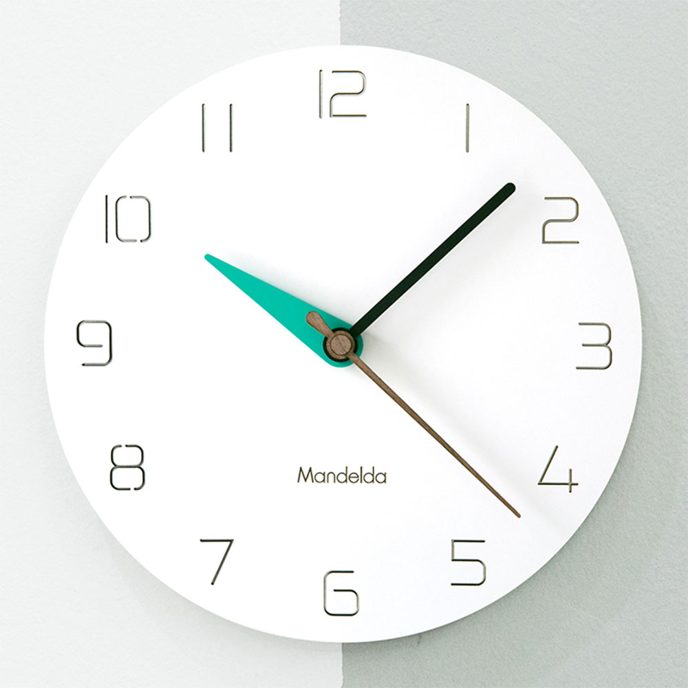 12 Inch Modern Minimalist White Wooden Wall Clock Nordic Bedroom Silent Quartz Clock Livingroom Colorful Art Clock Home Decor