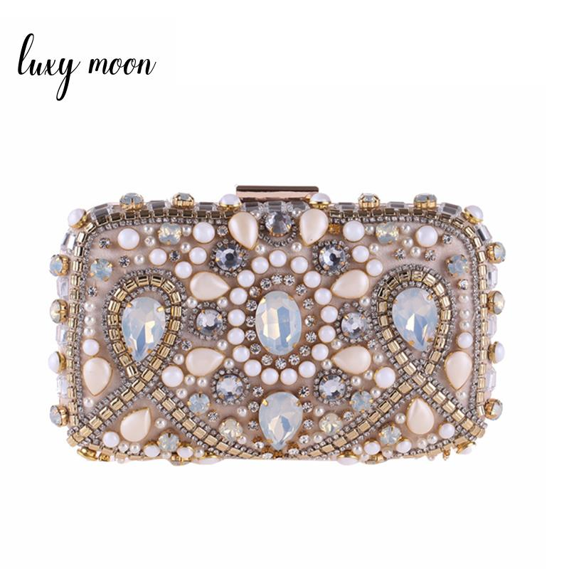 New 2018 luxury evening bags diamond beaded day clutch full dress clutches women mini shoulder bags fashion purse and handbags luxury brand designer vintage diamond evening bag fashion women owl day clutch party dress handbags purse chain shoulder bags