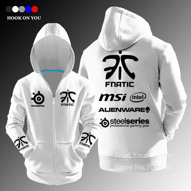 Exclusive Design LOL Gaming Team fnatic autumn winter zipper Cardigan hoodies fashion Cosplay Hoody Free Shipping