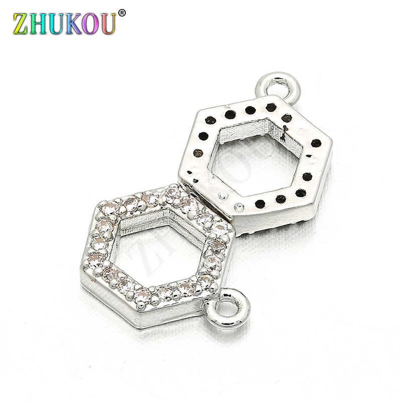 8*10 мм кубическая форма из латуни с цирконами талисманы разъем для DIY ювелирных изделий, отверстие: 0,8 мм, модель: VS52