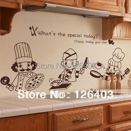 Kitchen wall sticker decal kitchenware wall tile stickers for Poster deco cuisine