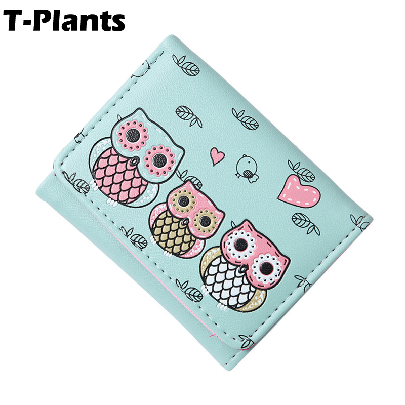 T-Plants Female 2018 Girls cute owl Lady Short Women Wallets Mini Money Purses PU Leather Bags small Coin Purse Card Holder ...