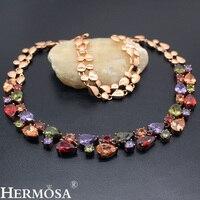 HotAmethyst Peridot Garnet Morganite Colorful Beauty Rose Gold Choker Necklace 16 Inch HERMOSA WOMENS JEWELRY Perfect Lady Gift