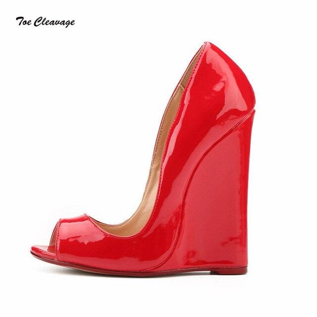 fcc7f54f7f 14cm Wedges wedding shoes woman sexy Peep Toe Crossdresser Slip-On Pumps  Exegang Office Lady