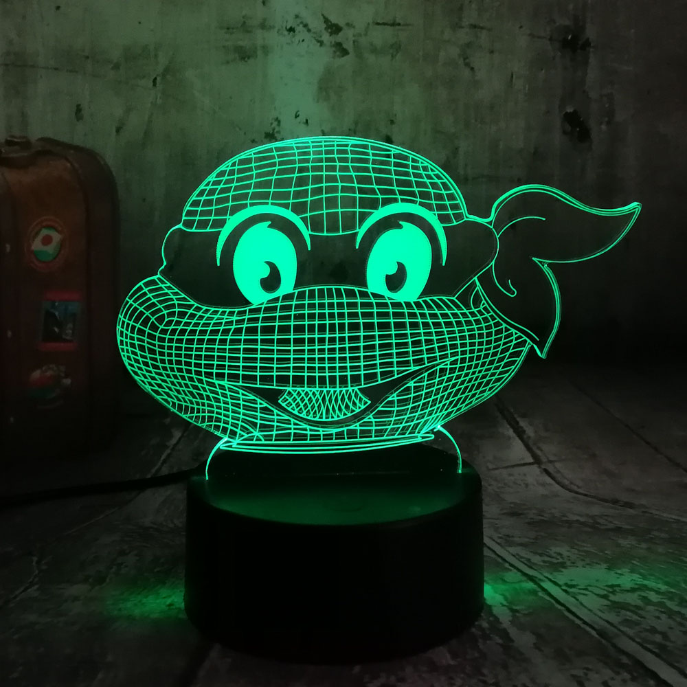 Figure Teenage Mutant Ninja Turtles Modern Atmosphere 3D Visual Lamp Night Light Led Bedroom Wedding Decoration Gift Lamparas