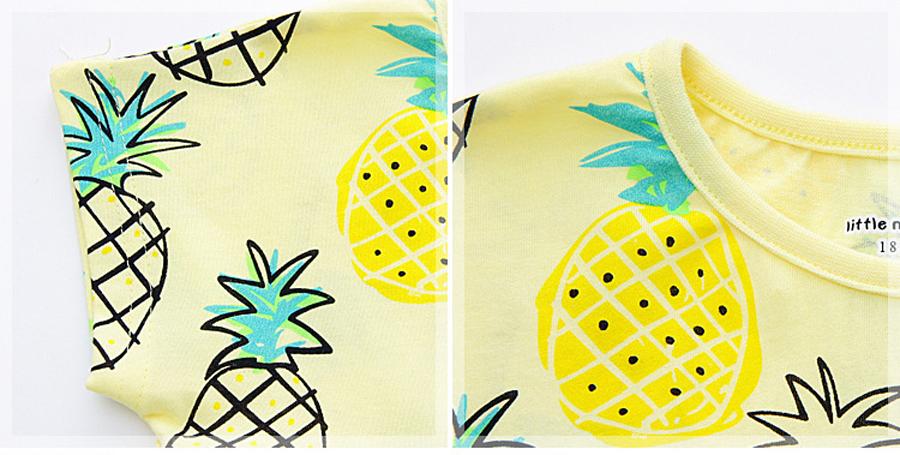 little maven 1-6year cotton party dresses yellow print pineapple little girls dresses o-neck girls dress for children clothing 9