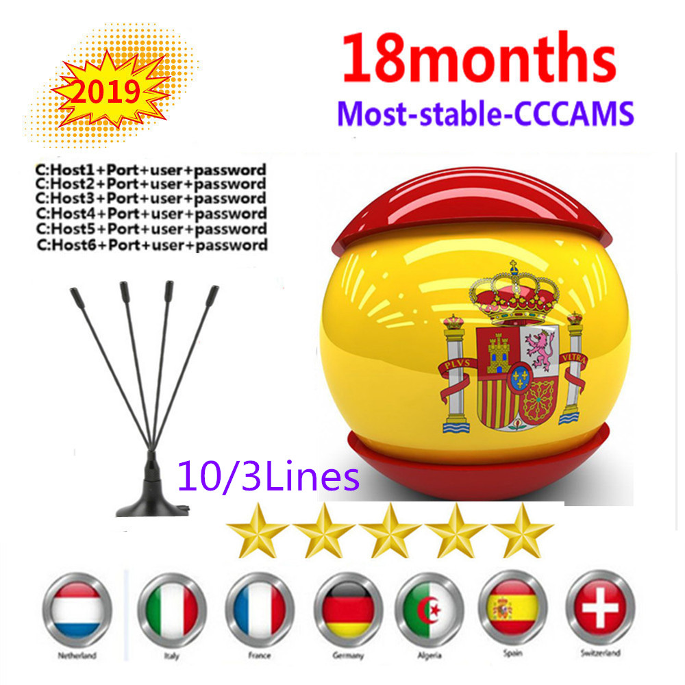 1 Year Europe Cccam 7 Clines Spain Portugal Germany Poland Cccam For DVB-S2 V7 Satelite TV Receiver V8 Nova Dreambox Vu+