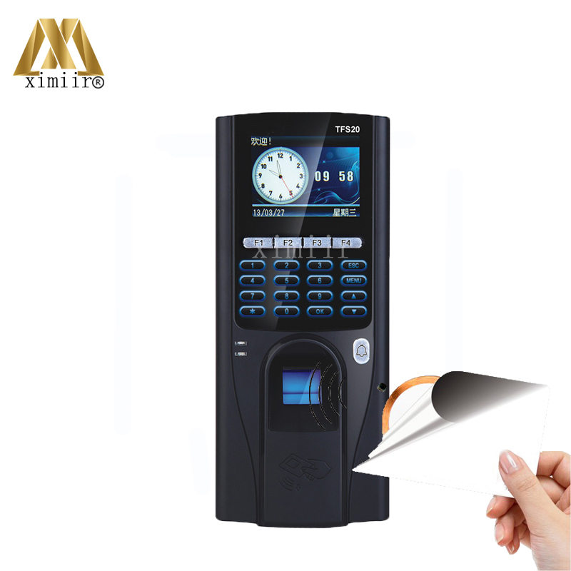 TCP/IP Communication Fingerprint Time Attendance TFS20 And Biometric Fingerprint Access Control With 13.56MHZ MFIC Card Reader tcp ip biometric fingerprint access control tft color screen fingerprint time attendance and access control with id card reader