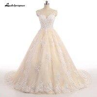 Luxury Lace Ball Gown Champagne Wedding Dress Princess Arabic Muslim Arab Bride Bridal Dress Gown Weddingdress