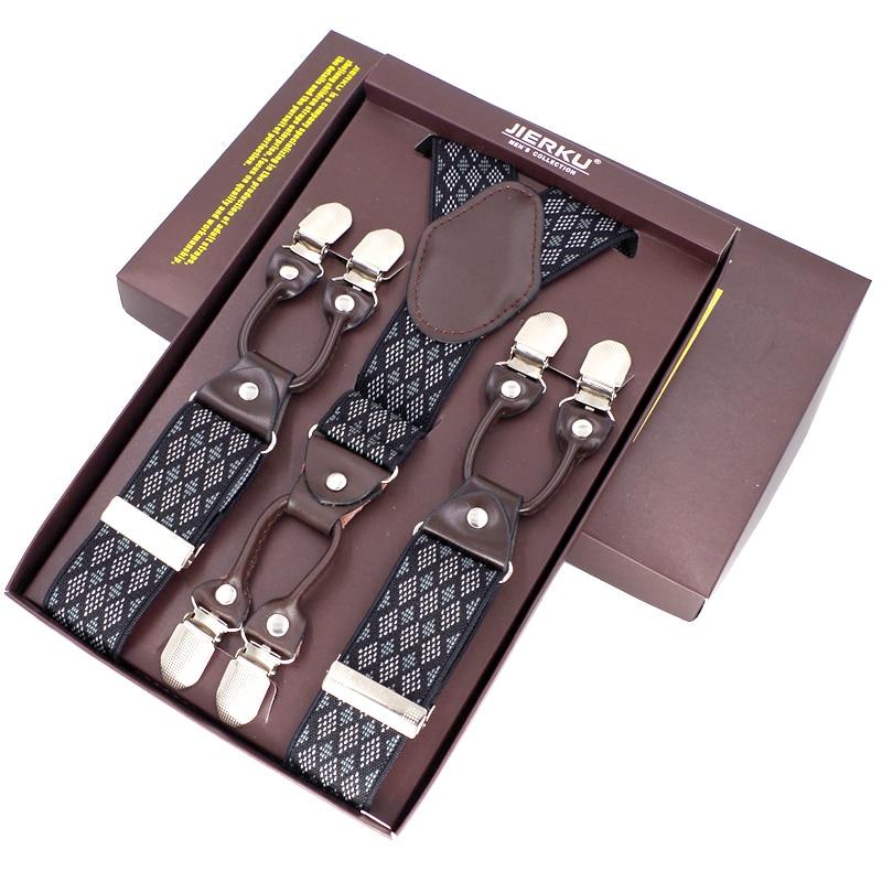2019 Men's Suspenders Casual Fashion Braces High Quality Leather Suspenders Adjustable 6 Clip  Belt Strap