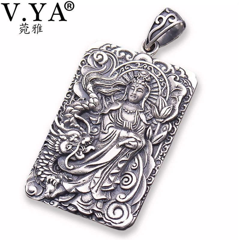 V YA 925 Sterling Silver Pendants for Men Buddhism Guanyin Amulet Pendant fit Most Necklace Thai