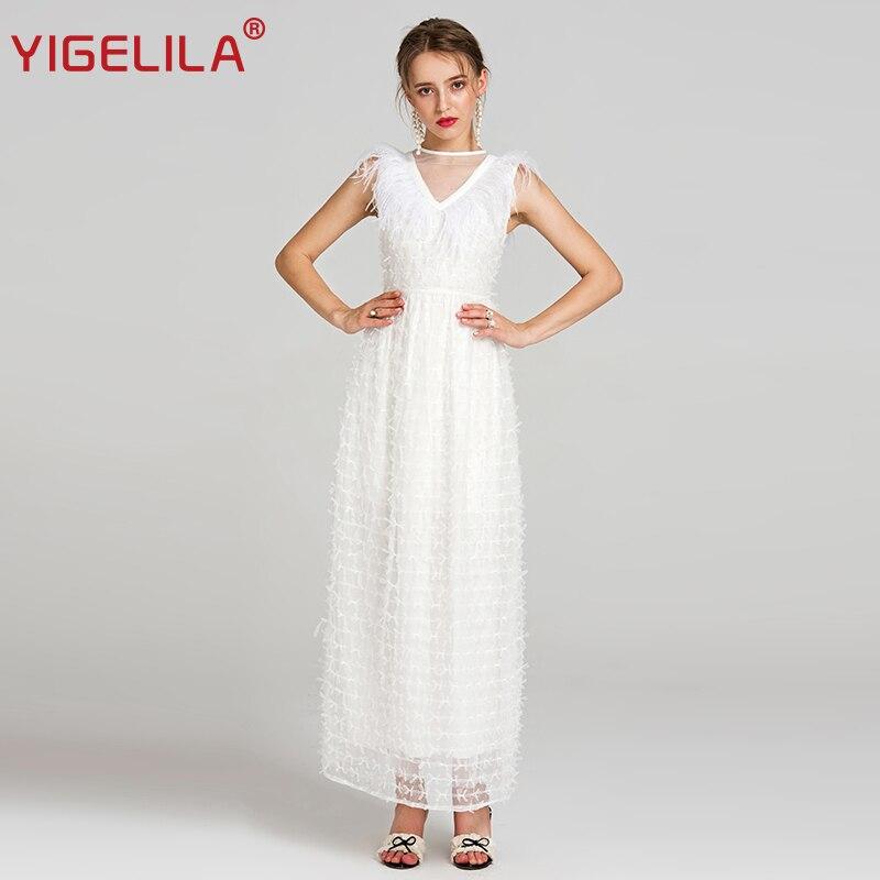 89ac2d8668c Le D été Plume Manches Mode Yigelila V Col Sexy Maille Longueur Sans 62135  Femmes Étage ...