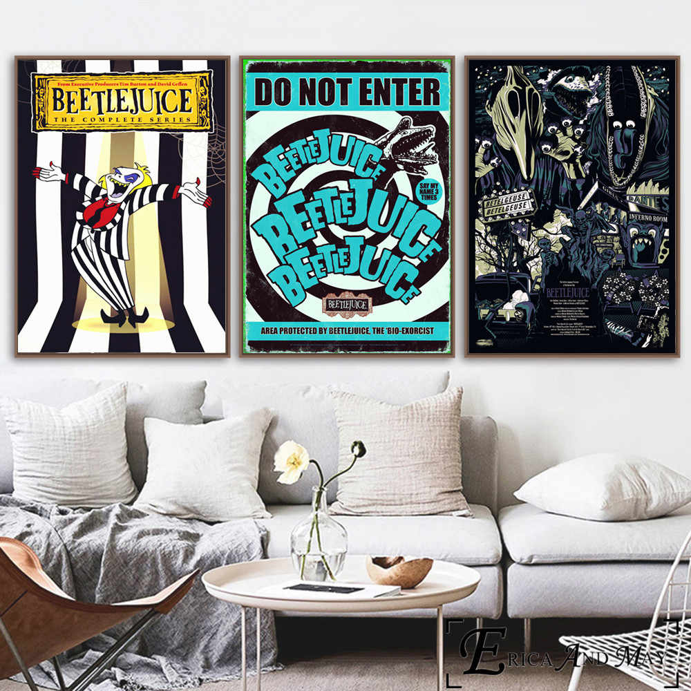 Beetlejuice Cartoon Comic Style Wall Art Canvas Painting Poster For Home Decor Posters And Prints Unframed Decorative Pictures Aliexpress