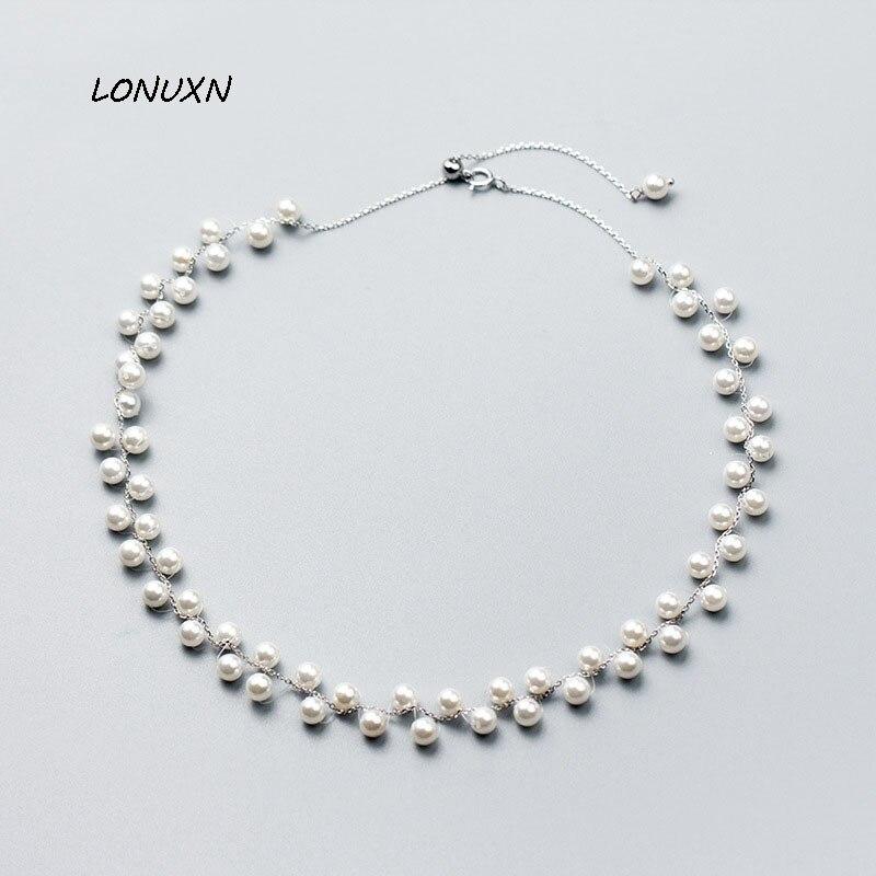 Haute qualité version coréenne mode 925 argent sauvage perle collier belle femmes collier filles beau cadeau accessoires bijoux