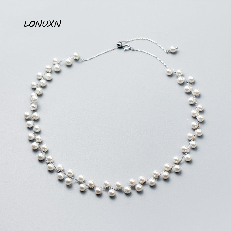 high quality Korean version fashion 925 silver Wild pearl Collar lovely Women necklace Girls Beautiful gift accessories jewelry