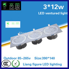 12W*3 LED Grille lamp AC85-265V ceiling lamp energy saving LED downlight spotlight