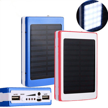 Dual-USB Interface Solar Power Bank with LED Flashlight for Charging Smartphone/Tablets