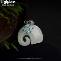 Uglyless Real 925 Sterling Silver Natural Jade Elephant Pendants without Necklaces for Women Vintage Enamel Chinese Knot Jewelry