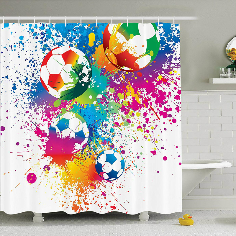 Us 12 61 31 Off Soccer Sports Shower Curtain Fire Colored Splashes Foot Ball World Cup Championship Athletic Artful Print Bathroom Accessories In