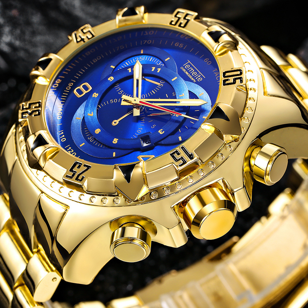 Temeite Wrist Watches Stainless-Steel Big Dial Military Fashion Men Men Luxury Golden title=