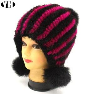 Image 2 - חדש אופנה נשים אמיתית מינק פרווה כובע טבעי מינק פרווה בימס פרווה כובעי אופנה ליידי אלסטי כובע חורף Skullies שועל פרווה פום poms