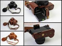 PU Leather Camera Case Bag Cover Bottom Opening For Canon EOS M5 EOSM5 (15 45mm) lens Camera easy take out of battery