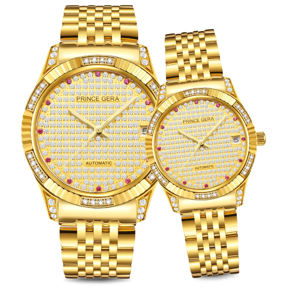 PRINCE GERA PRINCE Shining Diamond Couple's Watch 18K Gold Luxury Men/Women Automatic Watches Diamond Dial Gold Couple Watches