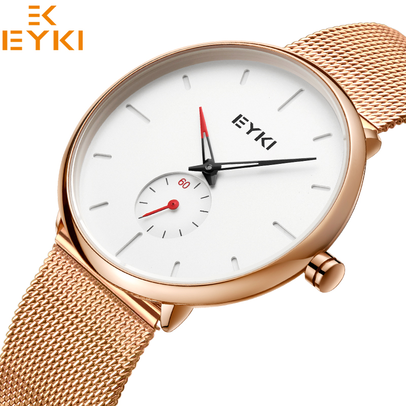 EYKI Women Watches Luxury Top Brand 2018 Stainless Steel Mesh Quartz Watch Women Ladies Dress Clock Relogio Mujer With Gift Box