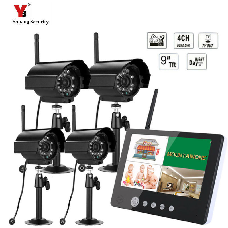 Wireless 2.4GHz 9 TFT LCD Monitor 4 Channel Quad DVR + 4 IR Night Vision Waterproof Camera Motion Detection RecordingWireless 2.4GHz 9 TFT LCD Monitor 4 Channel Quad DVR + 4 IR Night Vision Waterproof Camera Motion Detection Recording