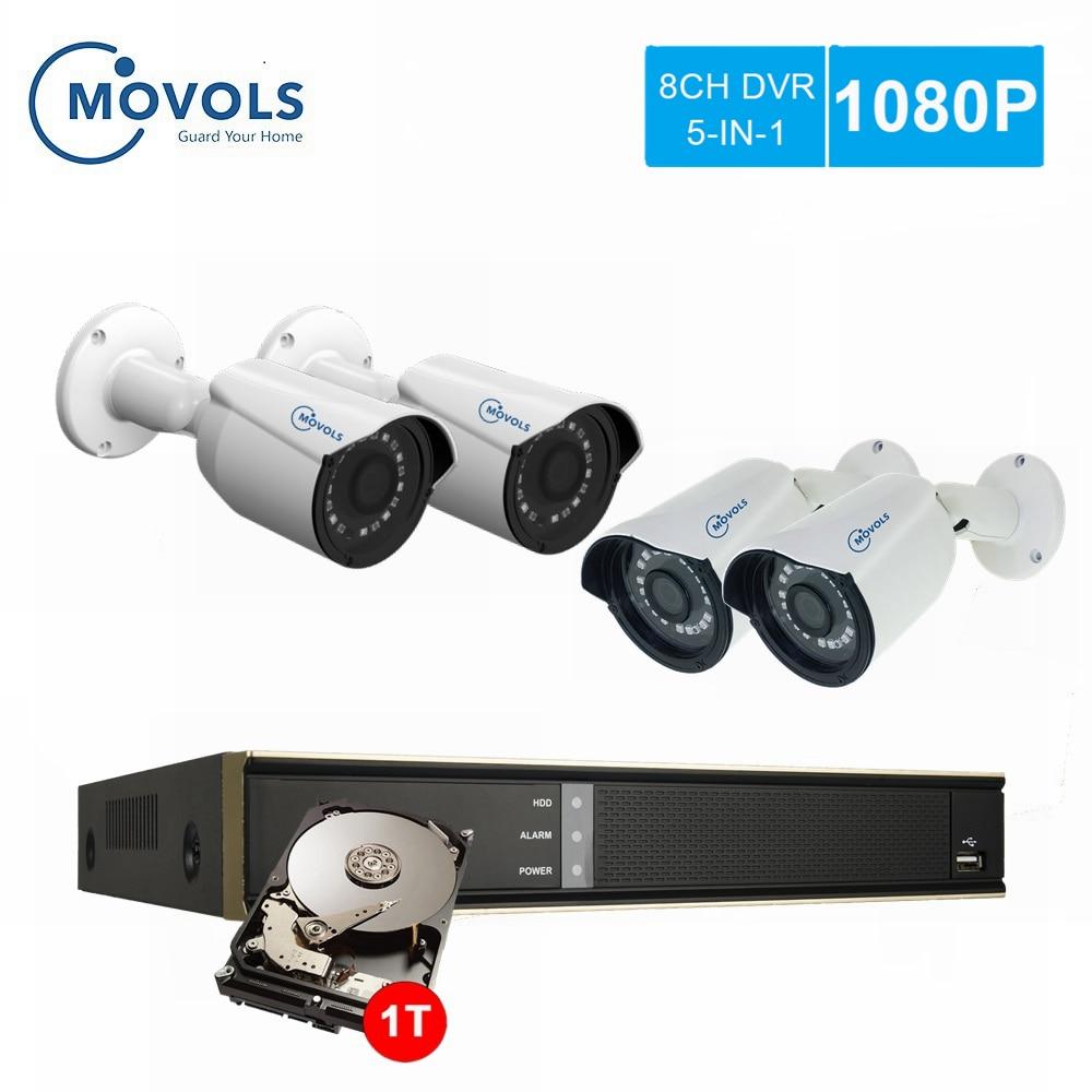 MOVOLS Kit de Surveillance vidéo extérieure 1080P DVR système de caméra de sécurité HDD 2 to système de vidéosurveillance domestique 8CH AHD NVR 4 ensemble de caméra extérieure