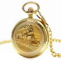 Reloj de Bolsillo de la vendimia de Oro Único Mujeres Colgante Cadena de Ferrocarril FOB Doble Hunter Mecánico de la Mano del Viento Hombres de Moda Reloj de Regalo P1036C