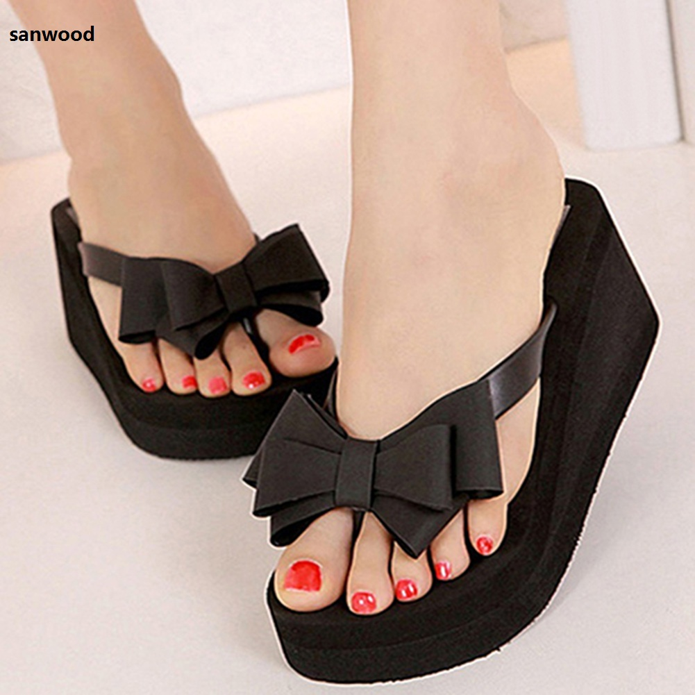 New Arrival Women Fashion Platform Mid Heel Flip Flops Beach Sandals Bowknot Slippers Shoes