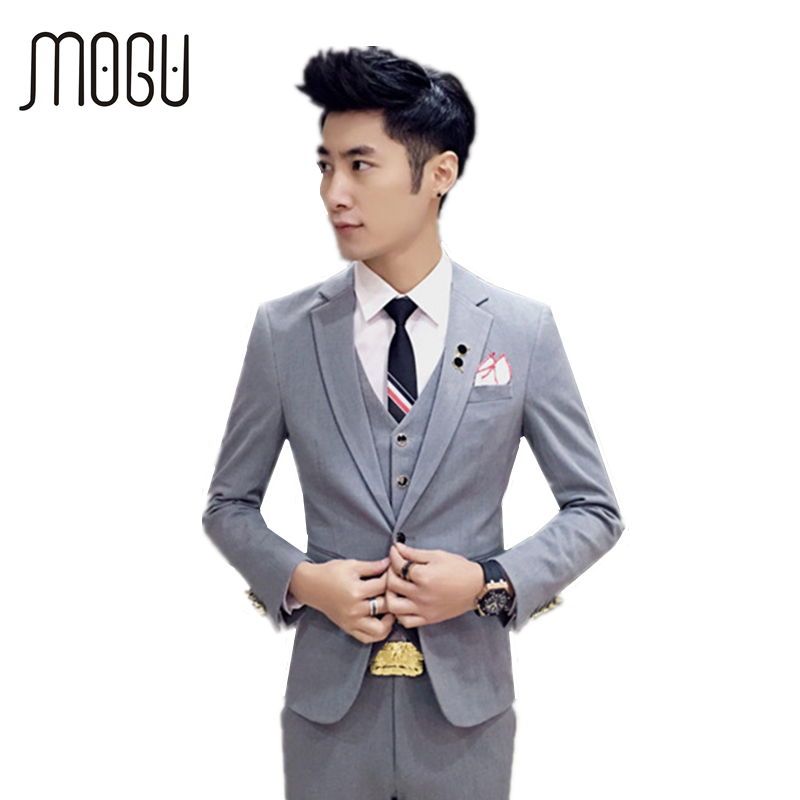 MOGU New Wedding Suits For Men Three Piece Men's Clothing Fashion Slim Fit Suit High Quality Men's Costume Asian Size Men's Suit