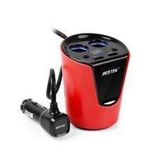BESTEK 12 В Автомобиля Гнездо Адаптера Питания 5 В 3.1A Автомобилей Прикуривателя Splitter Питания Прикуривателя Двойной USB Зарядки Портов красный Черный