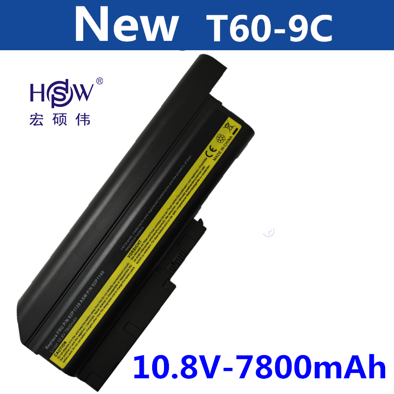 HSW 7800MAH Battery for IBM Lenovo ThinkPad R60 R60e T60 T60p R500 T500 W500 SL400 SL500 SL300 40Y6799,40Y6795,bateria new 9 cell laptop battery for lenovo thinkpad r500 r61e t500 sl300 t61p sl400 sl500 41u3198 asm 42t4545 fru 42t4504 42t4513